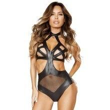 Black Womens Vinyl Leather Fishnet Bodysuit Open Crotch Sexy Costumes One Piece Crisscross Zip-up Teddy Lingerie Queen Size 6XL недорго, оригинальная цена