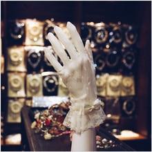 Корейская простота, узор, бант, грация, Короткие рукавицы, свадебные перчатки, белая кружевная Свадебная обувь, аксессуары, тонкие перчатки, 0410-01