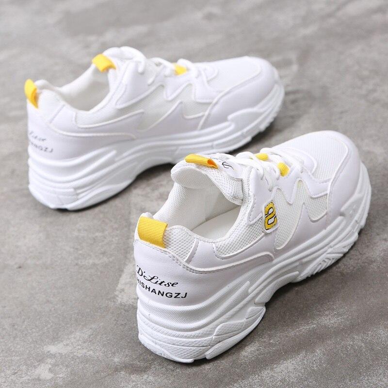 2018 רשת לנשימה נשים נעליים יומיומיות לגפר נשי אופנה סניקרס תחרה עד רך גבוהה פנאי Footwears נשים נעליים