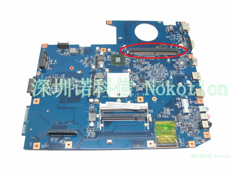 NOKOTION MBPCE01001 Laptop motherboard For Acer aspire 7535  ddr2 Socket S1 With Graphics card slot 48.4CE01.021 Mainboard works nokotion mainboard for acer aspire 5738 laptop motherboard ddr2 ati hd4500 video card mbpke01001 mb pke01 001 48 4cg07 011