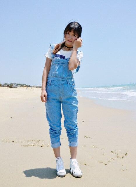 Pure cotton cowboy denim women overalls korean style vintage bleaches jeans plus size pleated button fly loose ladies pants D13