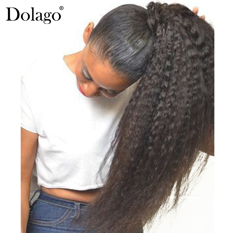 Kinky Straight Ponytail For Women Natural Coarse Yaki Remy Hair 1 Piece Clip In Ponytails Black