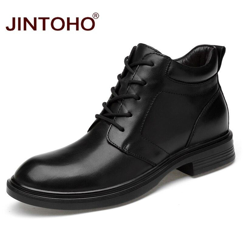 Ayakk.'ten Basic Çizmeler'de JINTOHO erkekler hakiki deri çizmeler büyük boy erkek ayak bileği deri çizmeler kış erkekler hakiki deri ayakkabı kışlık botlar Bota Masculina'da  Grup 1