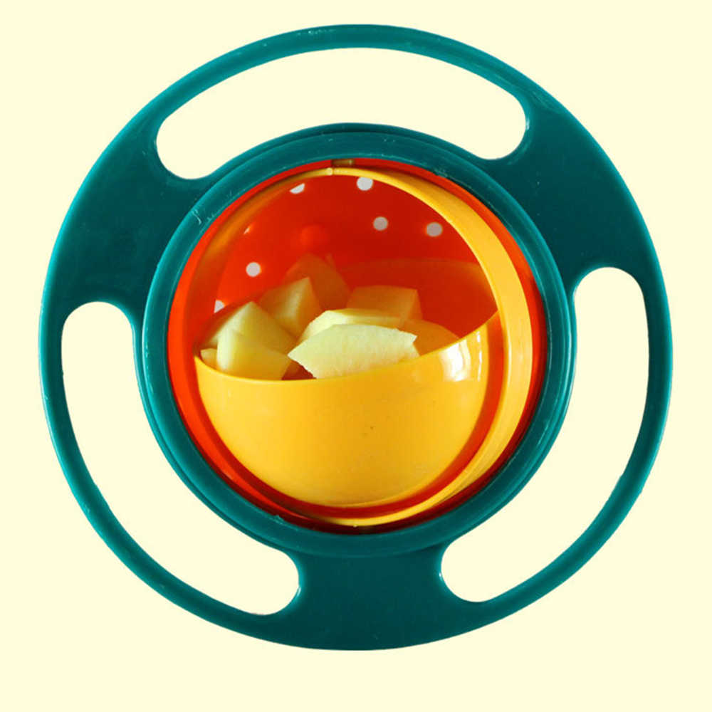 Children Rotary Balance Bowl Umbrella Bowl Universal Gyro Bowl Practical Design Novelty Gyro 360 Rotate Spill-Proof Bowl