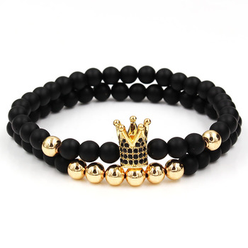 Fashion 2PCS/Set 6mm Black Matte Stone Copper Bead Bracelet Elastic Rope Bead CZ Ball,Leopard,Skull,Crown Bracelet For Men Women 1