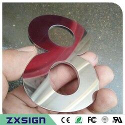 Letras de acero inoxidable pulido espejo pulido sólido grueso 2mm salida de fábrica