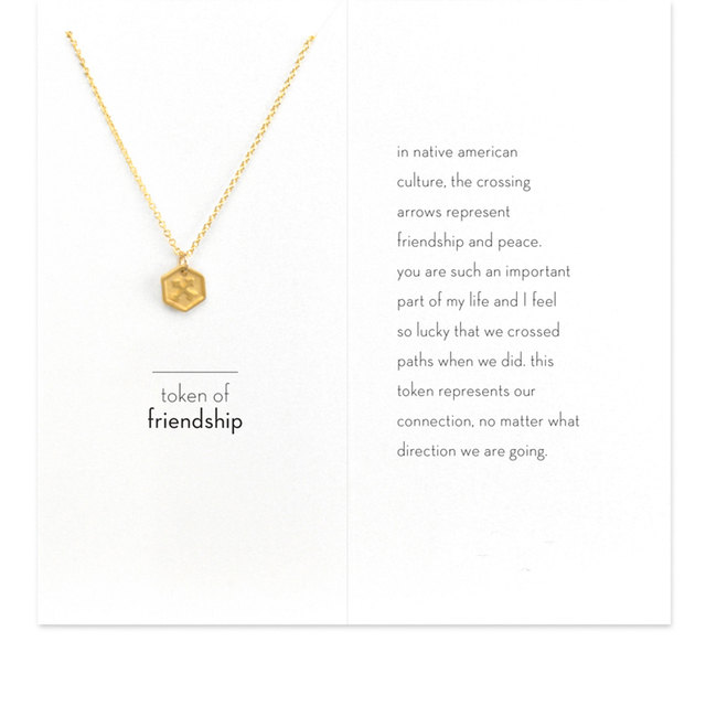Sparkling Token Of Friendship Crossing Arrows Necklace Gold Color
