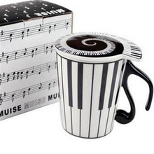 Music coffee mugs with cover ceramic tea cup handpainted drinkware gift box 3 style 13