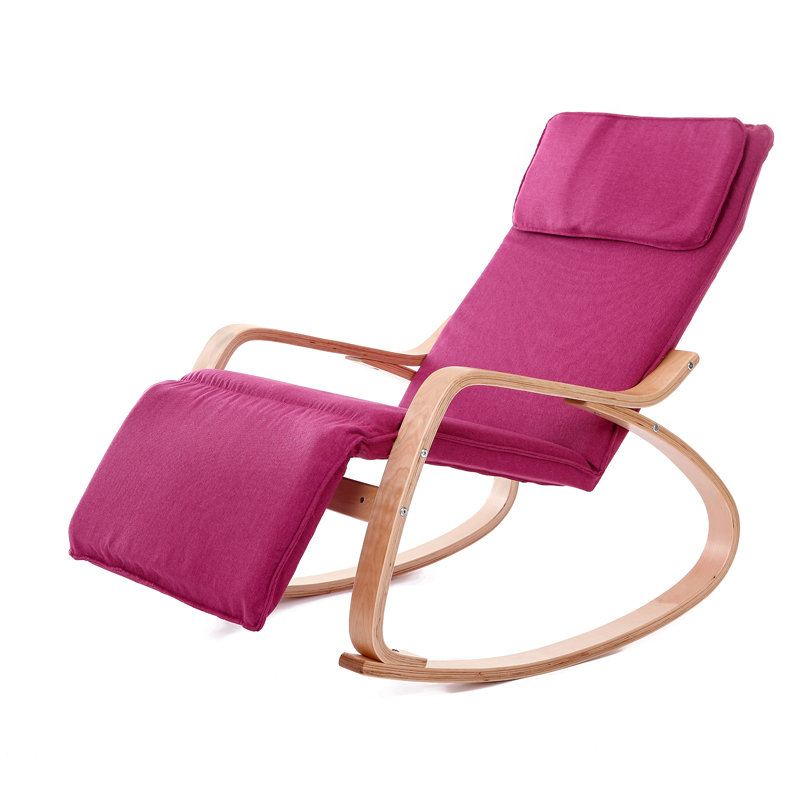 Comfortable Relax Wood Rocking Chair With Foot Rest Design Living Room Furniture Modern Recliner Leisure Chair  Fabric Cushion