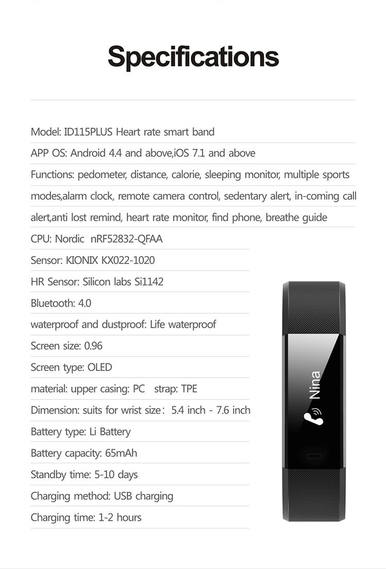 Makibes ID115 PLUS smart wristband (31)