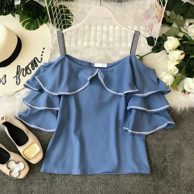 Neploe כבוי כתף חולצות נשים שיפון חולצה סלאש צוואר ראפלס גבירותיי חולצות קוריאני בגדי קיץ אופנה Streetwear 38827