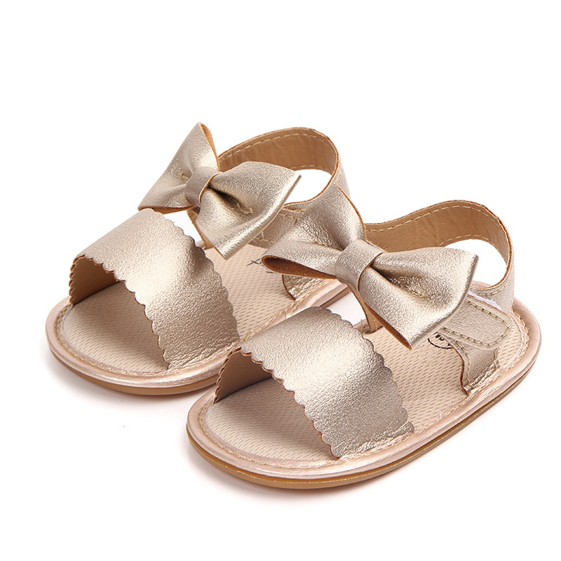 Cute Baby Girls Sandals Newborn Toddler Girl Bow Tie Sandals Summer Baby Shoes Casual Fashion Sandals Girls PU Baby Sandals