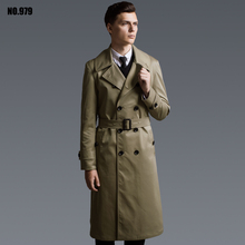 2018 America Europe Fashion simple Double breasted men's clothing lengthen commercial casual outerwear Khaki black Trench Coat