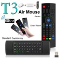 T3 2.4 GHz 3 en 1 Fly Air Ratón Mini Teclado Qwerty Inalámbrico Controlador remoto VS MX3 T3-M Mic Giroscopio Juego para Android TV Box