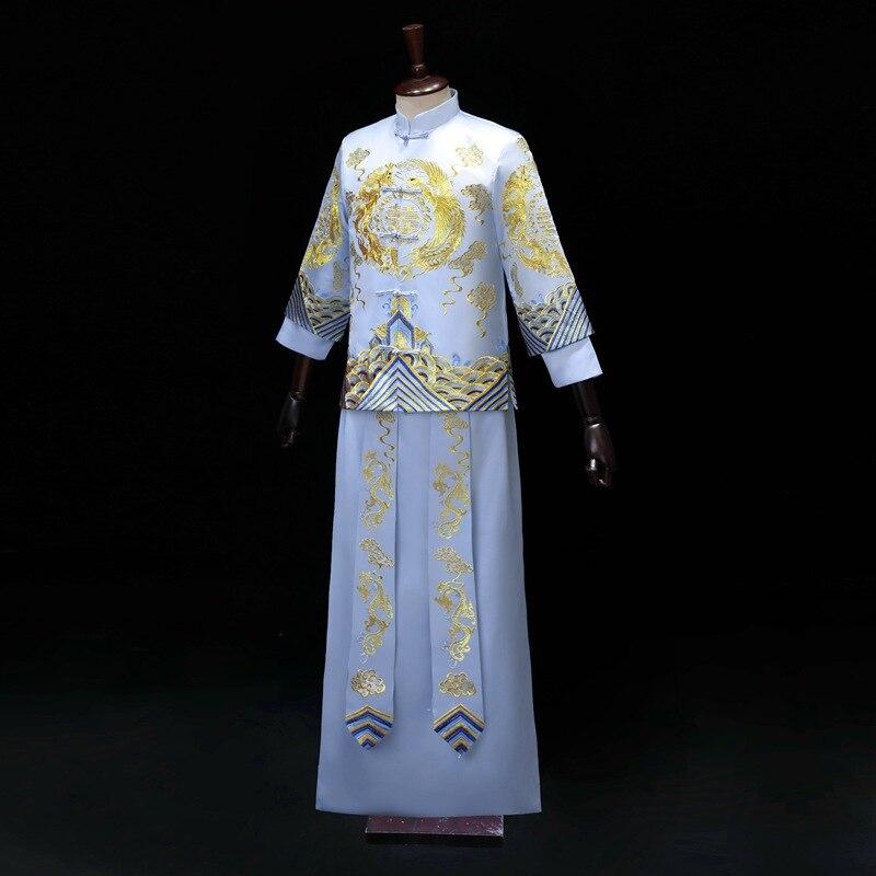 Bruidegom Vintage Losse Cheongsam Traditionele Chinese Trouwjurk Blauw Satijn Qipao Borduurwerk Draak Kostuum Vestido Oosterse Mens