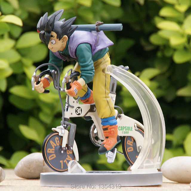 Anime Dragon Ball Z Son Goku Kakarotto Rinding Bicycle Figure Toy