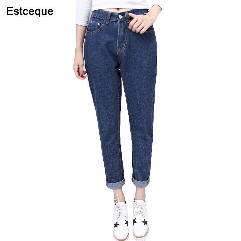 2018 New Slim Pencil Pants Vintage High Waist   Jeans   Womens Pants Ankle length Pants Loose Cowboy Trouser