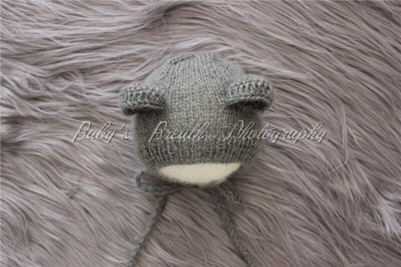 Neonato Mohair Teddy Bear Cofano A Mano Knit Crochet Mohair Bambino Cappello  Del Bambino Fotografia Prop in Neonato Mohair Teddy Bear Cofano A Mano Knit  ... 839216f1de68