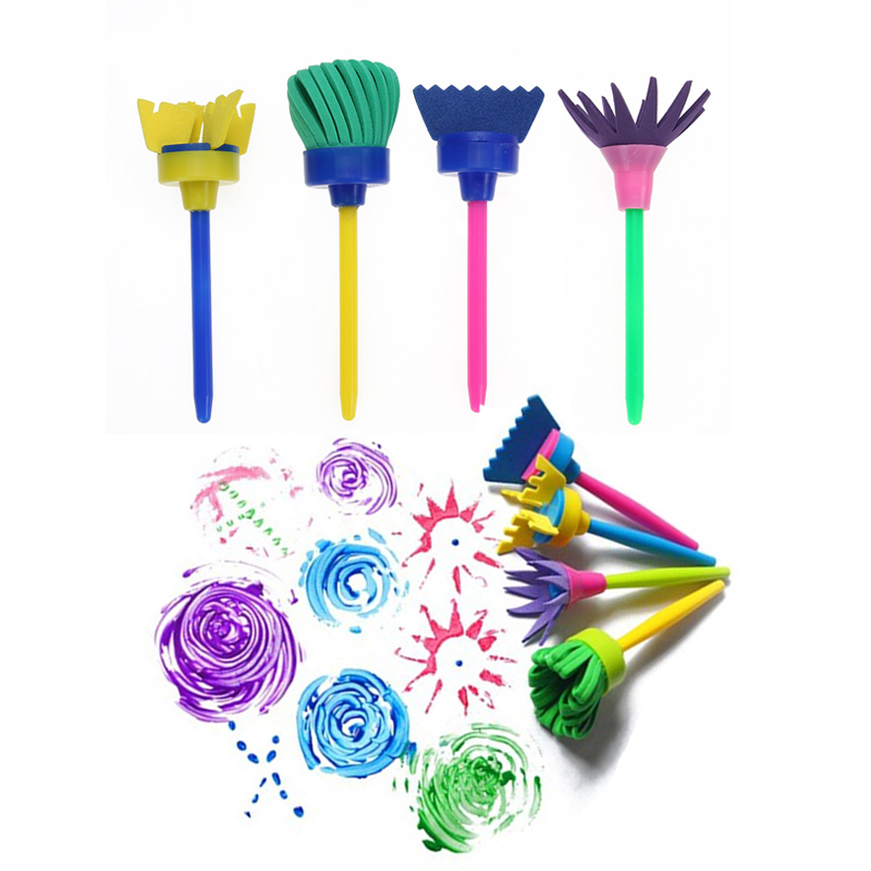 4/6pcs Rotate Spin Paint Drawing Sponge Brushes Kids DIY Flower Sponge Art Graffiti Brushes Painting Tool Education Drawing Toys