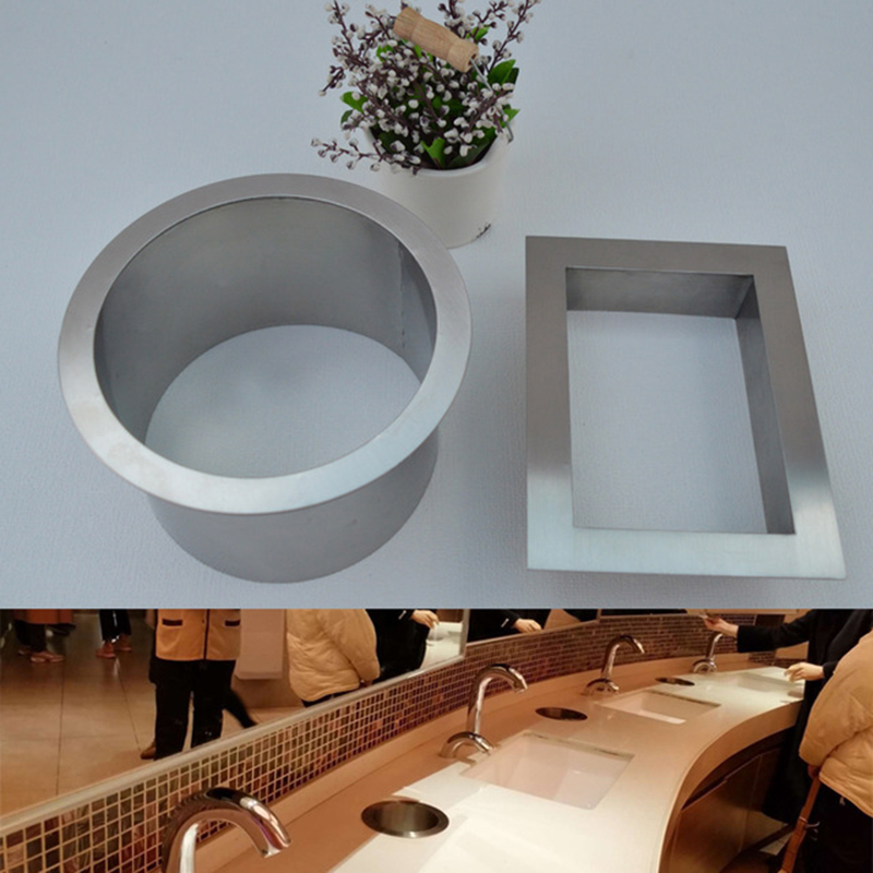 304 stainless steel Built in Recessed Counter top bench top Grommet No Swing Cover Waste Bin