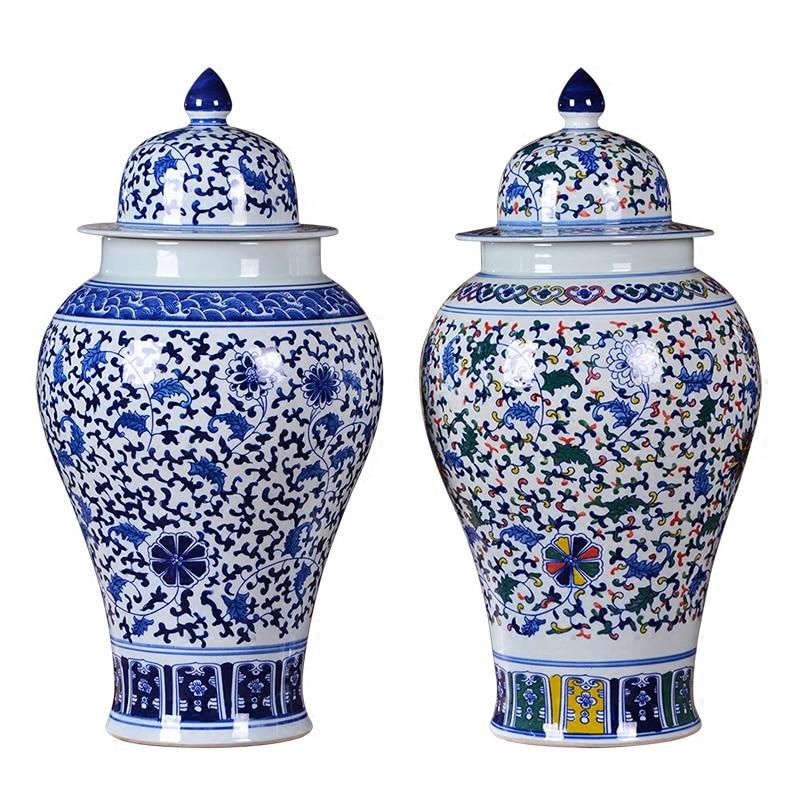 Jingdezhen Antique Blue And White Porcelain Temple Jar