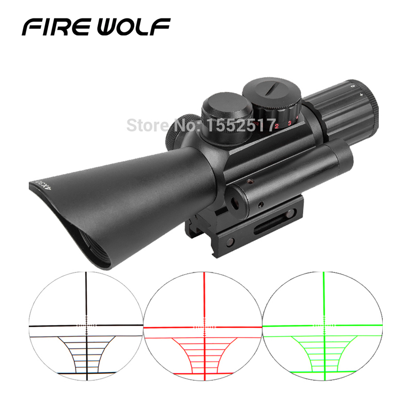 M7 4x32 Rifle Scope Red Green Mil-dot Reticle With Side Attached Red Laser Sight/tactical Optics Scopes/riflescope Telescope 4x 30mm red green mil dot reticle rifle scope with gun mount black 3 x ag13 1 x cr2032