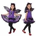 Niños cosplay danza dress 3 unids/set fancy fiesta de disfraces de navidad batman chica traje trajes para niños paño púrpura