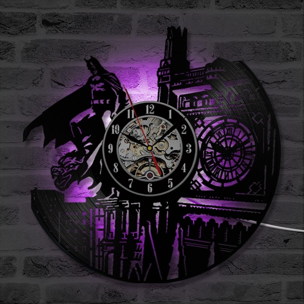 37db0d3bcbe Batman And London CD Record Clock Cartoon Theme Vinyl Record Wall Clock  Handmade Black Hollow LED Clock Home Decor