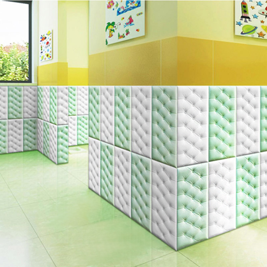 Modern DIY Self Adhesive 3D Faux Leather PE Foam Wallpaper PVC Waterproof Wall Panel Sticker Kids Room Bedroom Home Decor Decals