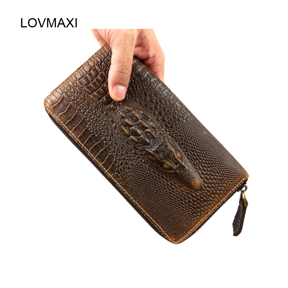 40a836ca2fc2 Lovmax Для мужчин из натуральной кожи кошельки Длинные молнии бумажник 100%  кожаные кошельки головы крокодила тиснением мужской клатч