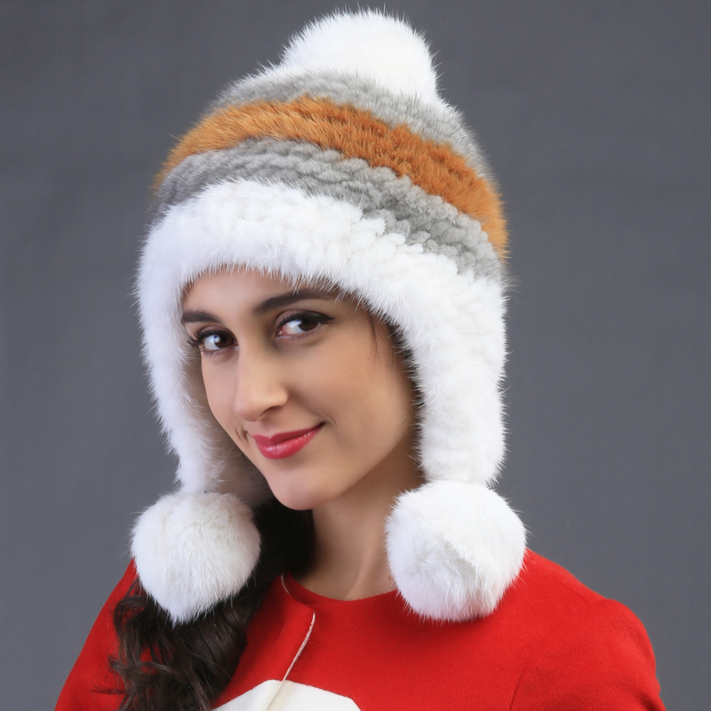 lady warm genuine rex mink fur pineapple cap lady lovely ballfur autumn winter super hat foreign trade explosion models in europe and america in winter knit hat fashion warm mink mink hat lady ear cap dhy 36