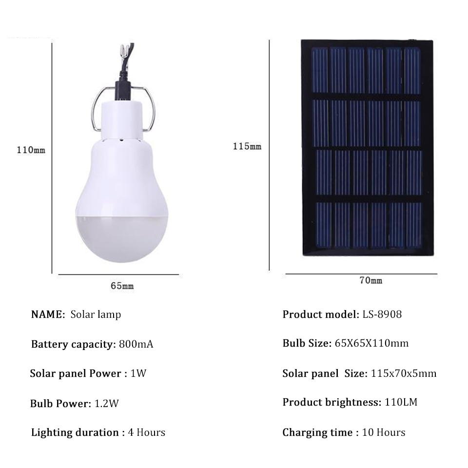 High light Energy Conservation Useful LED Solar Energy Lamp Natural white Led Bulb Light solar panel for indoor lighting travel