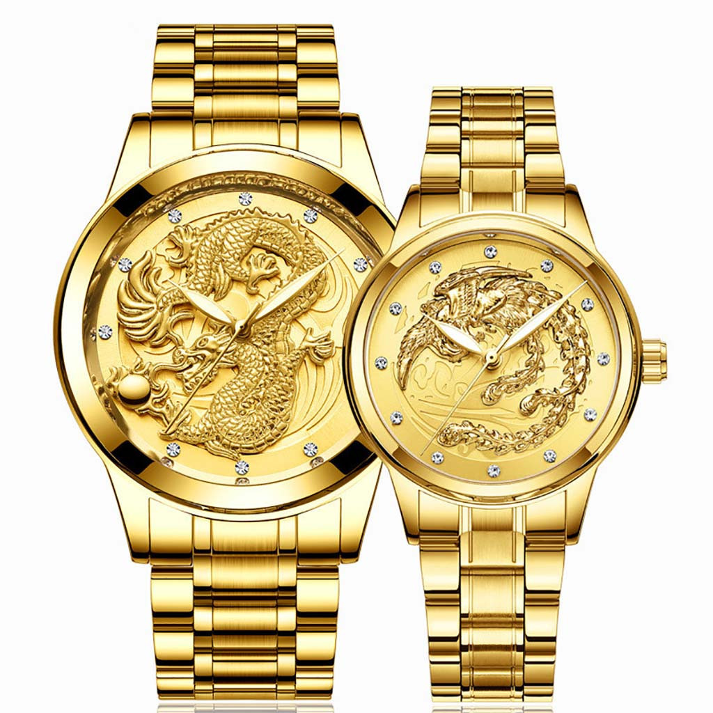 Lover's Watches LongFeng Table Luminous Gold Color Quartz Ultra-thin Steel Belt couples watch man and ladies relogio masculino