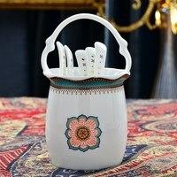 Bone china tableware set ceramic spoon with accessories swan basket spoon storage chopsticks cage soup spoon storage