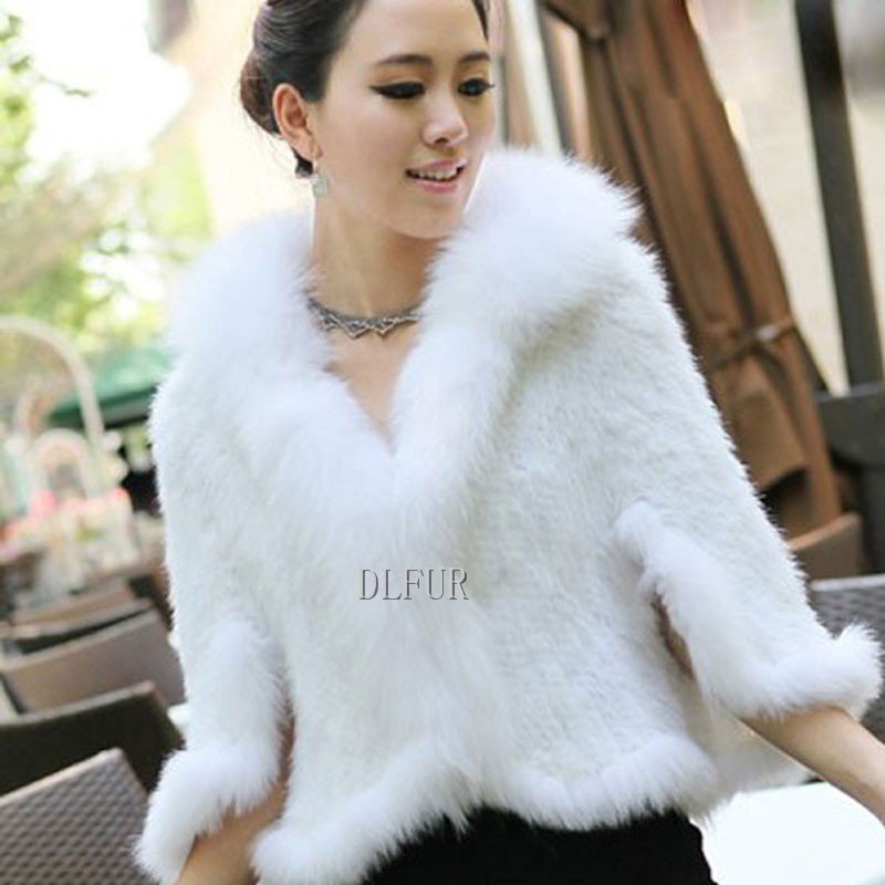 Hot Sale Genuine Mink Fur Shawl With Fox Fur Trim Women Natural Mink Fur Poncho Winter Knitted Mink Fur Jackets DL6235 (4)
