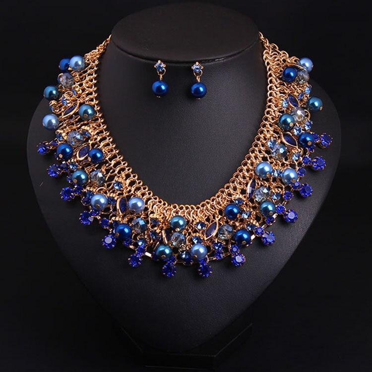 Fashion Fine Jewelry Bohemia Jewelry Set Statement Necklace Luxury Charm Pearl Earrings Evening Party Jewelry Set for Women