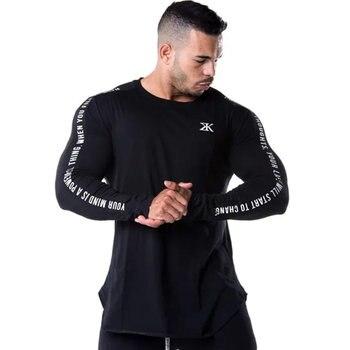 Camisetas de manga larga delgada para hombre, Camisetas estampadas casuales a la moda para gimnasio masculino, camiseta negra para entrenamiento de Fitness, Tops, ropa de Crossfit