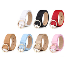 Womens buckle gold jeans wild belt womens fashion students simple new round pin