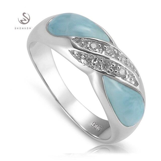 925 стерлингового серебра ювелирные изделия кольца Larimar и Белый Кубический Цирконий Берсерка S--3800 sz #6 7 8 9 модели Взрыва новый список