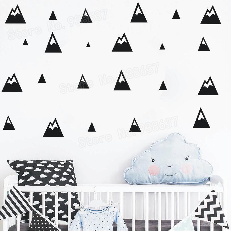 Mountains Pattern Wall Decal Kids Removable DIY Vinyl Wall Stickers for Baby Room Home Interior Ornament Nursery Art Mural JW237