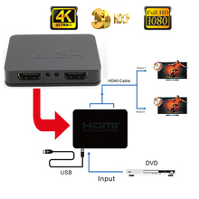 High Quality Full HD 4K HDMI Splitter 1X2 2 Ports Repeater Amplifier Hub 3D 1080p 1 In 2 Out Black