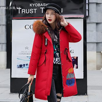 PinkyIsBlack New Long Parkas Female Womens Winter Jacket Coat Thick Cotton Warm Jacket Womens Outwear Two Side Wear Fur Coat недорого