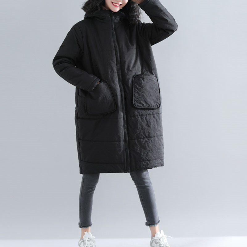 Large Size Wadded Coat Female Long Section 2018 Winter New Padded Thicken Loose Hooded Zipper Women Parkas Wine Red Black LQ487