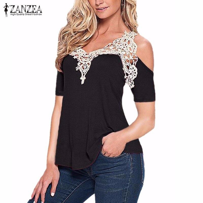 Zanzea mujeres 2017 verano sexy elegante encaje empalme blusa camisa casual del
