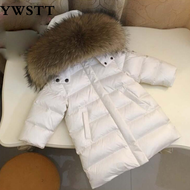 цены Winter Children Long Jacket Boys 90% White Duck Down Snow Wear Girl Outerwears Jacket Thick Nature Fur Collar Down Coats Parka