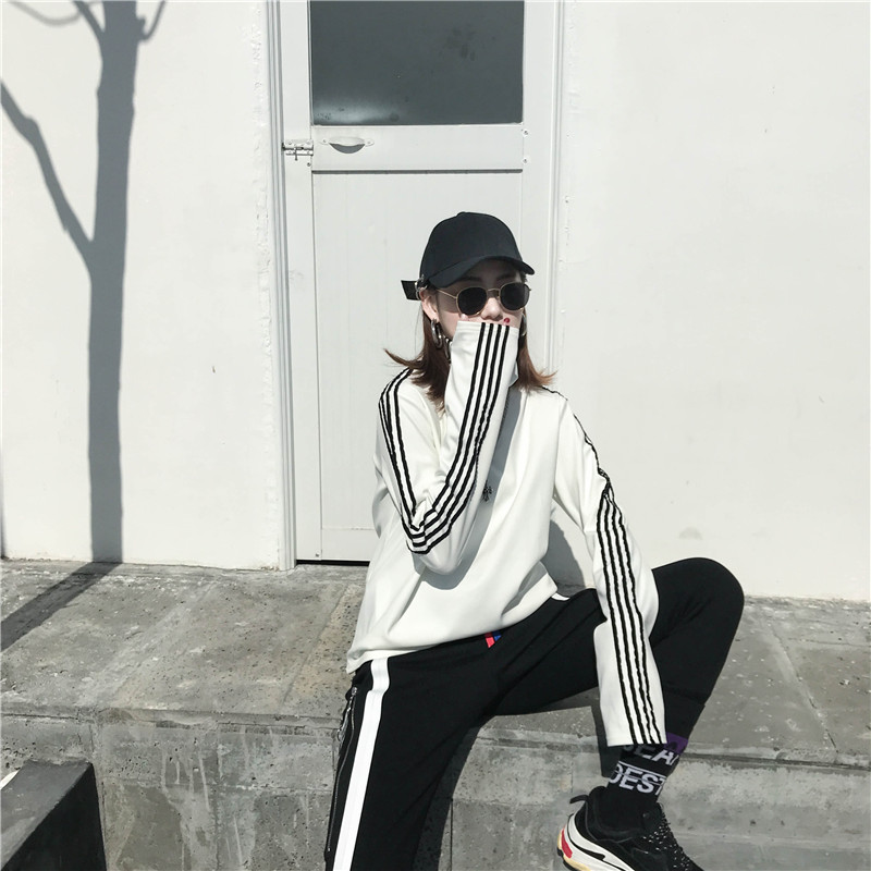 T-shirts Women Long Sleeve Turtleneck Striped Letter Embroidery Harajuku Womens Loose T-shirt Trendy Chic Korean Style All-match 18