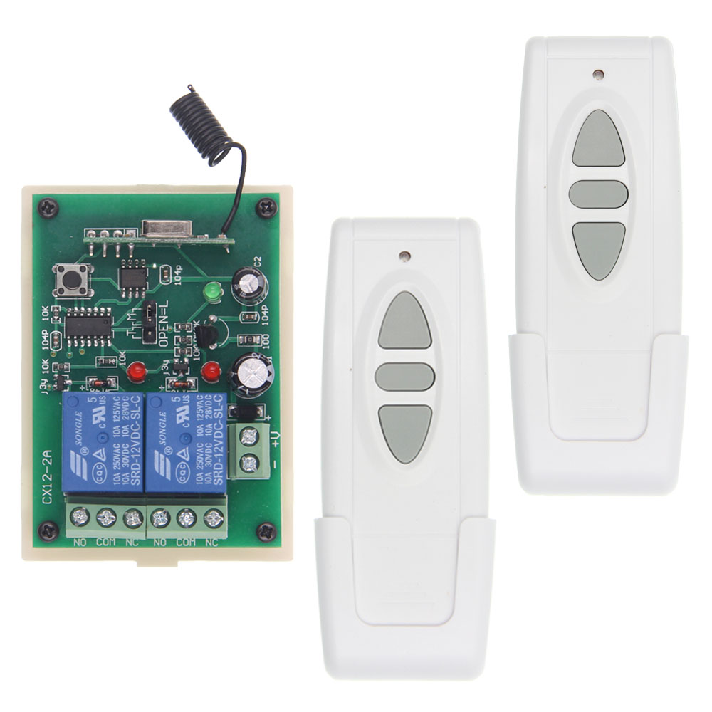 DC 12V 24V 2CH Wireless Remote Control Switch For Motor Forward Stop Reverse Controller 315/433.92 MHZ new arrival wireless remote control switch system dc 12v 24v 2ch remote controller switch for curtain lighting toy 315 433mhz