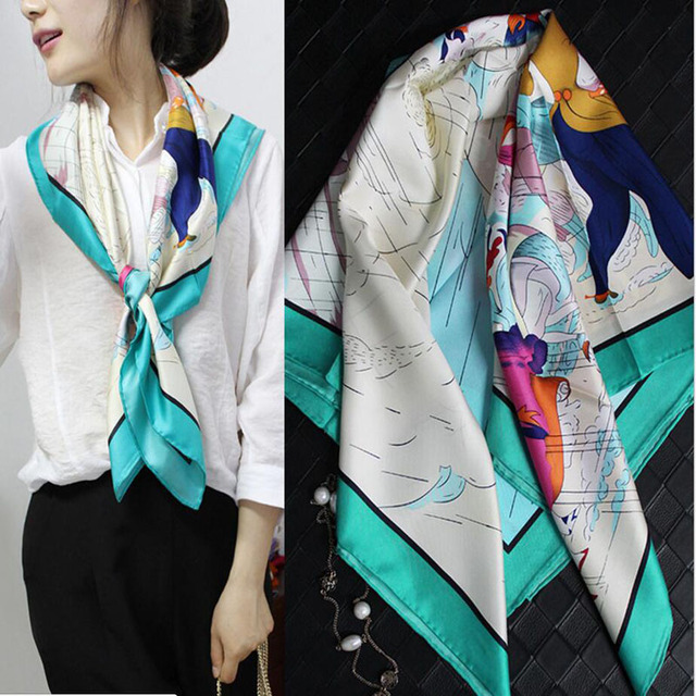 2017 Women Winter Scarves 100% Silk Twill  Square Scarf Shawl 90x90cm Horse Printing Fashion Multifunction Scarf   SZ