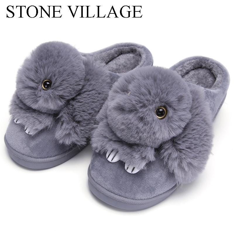 High Quality Women Slippers Lovely Rabbit Animal Prints Solid Flat Indoor Shoes Winter Plush Warm Home Slippers Size 36-41