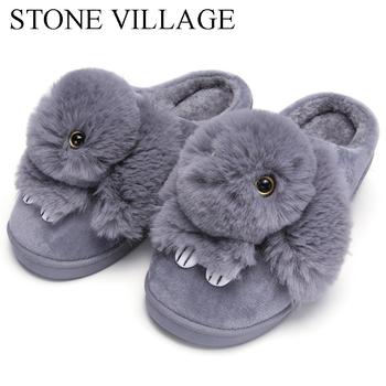 High Quality Women Slippers Lovely Rabbit Animal Prints Solid Flat Indoor Shoes Winter Plush Warm Home Slippers Size 36-43